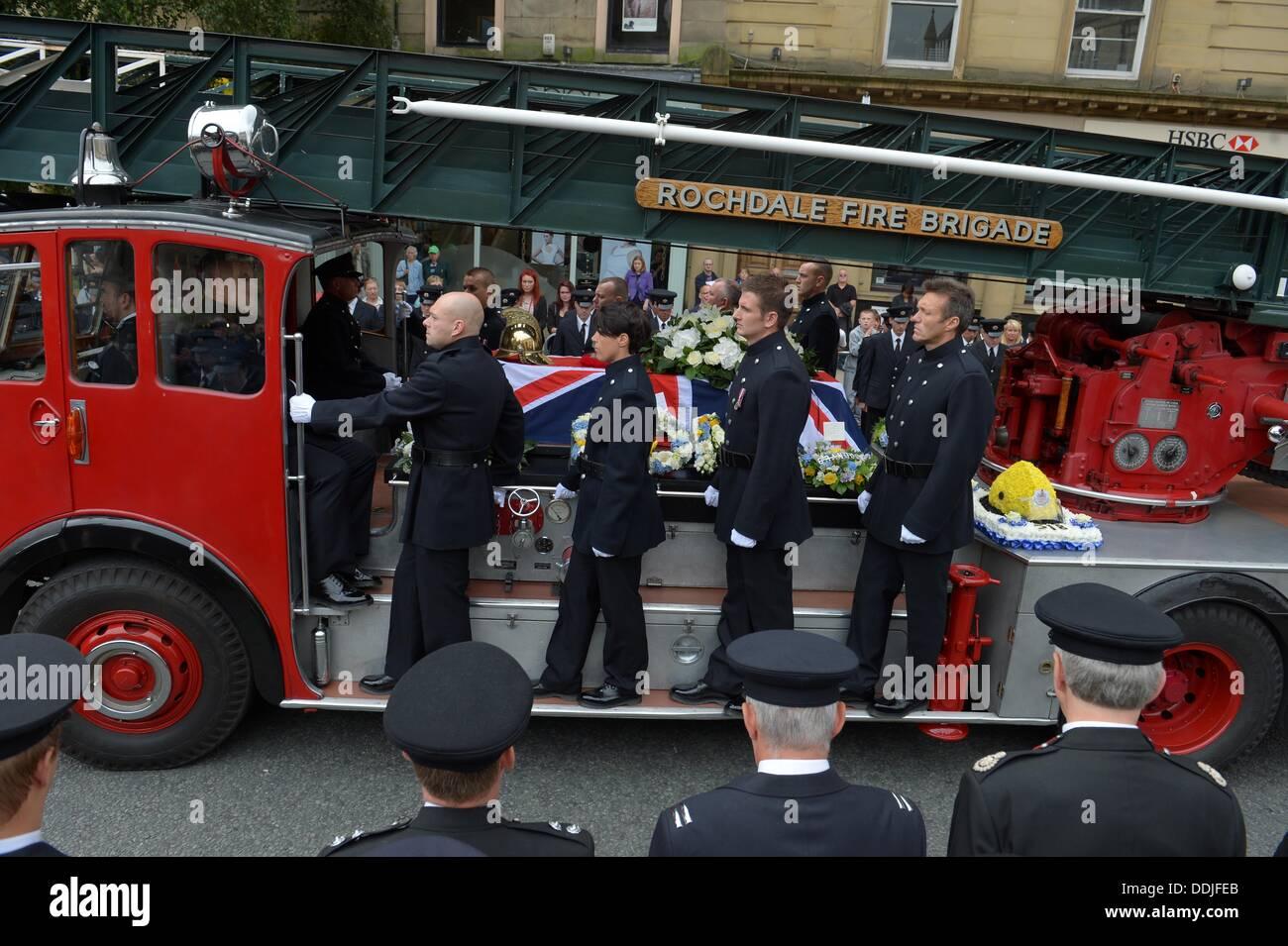 bury lancs uk 3rd september 2013 funeral of firefighter