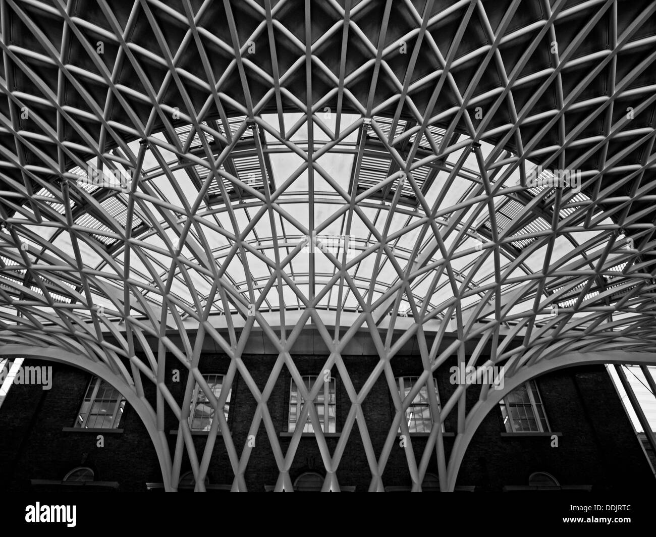 Detail of the steel lattice-work roof structure engineered by Arup, on the  western concourse of King's Cross railway Station