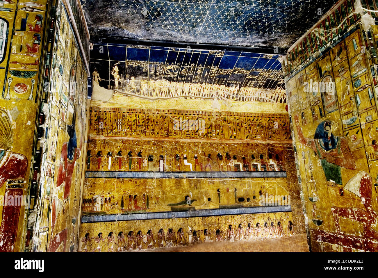 Mural paintings in the tomb of seti i valley of the kings for Egyptian fresco mural painting