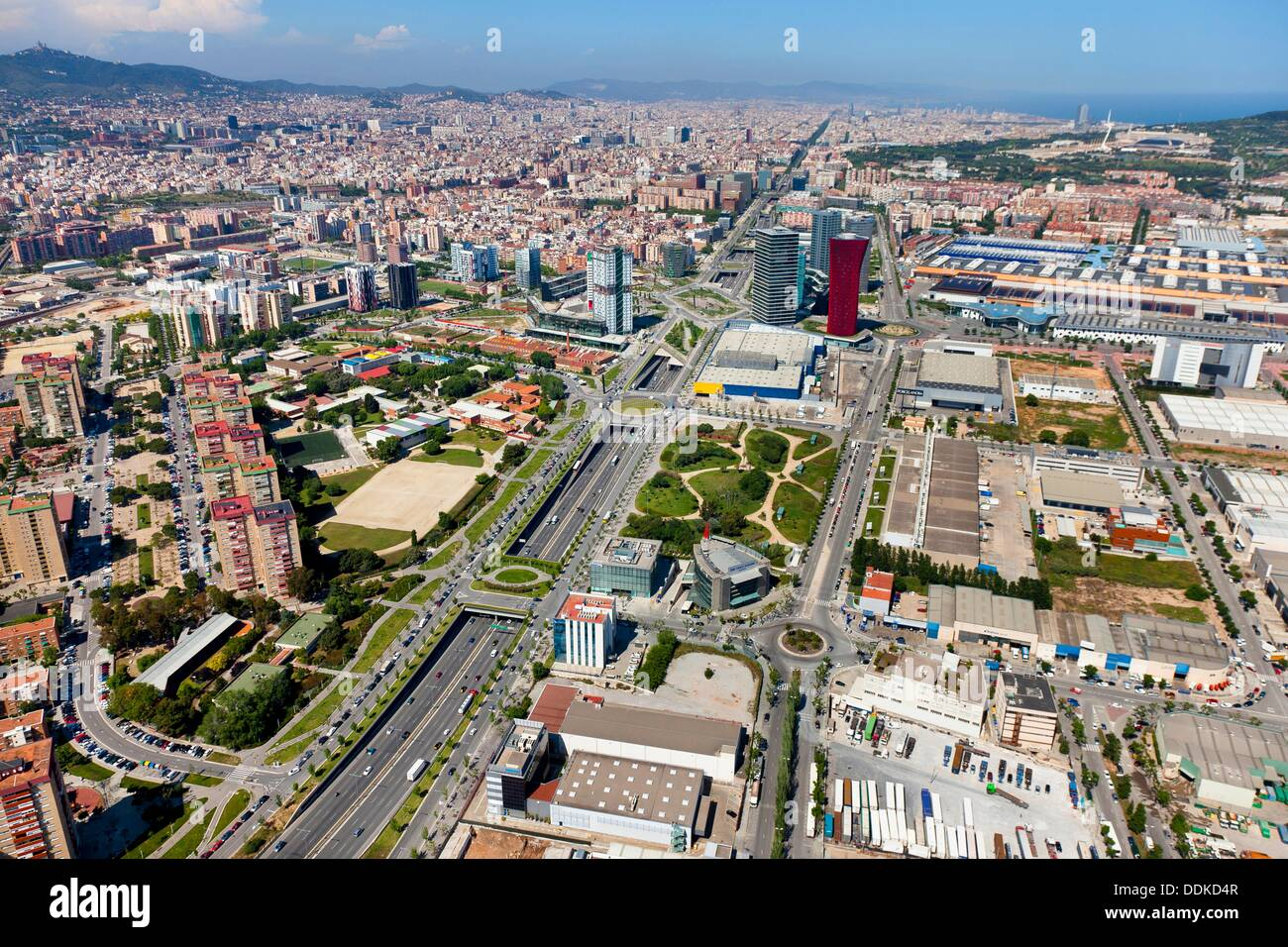 gran via and fira l hospitalet de llobregat barcelona spain stock photo royalty free image. Black Bedroom Furniture Sets. Home Design Ideas