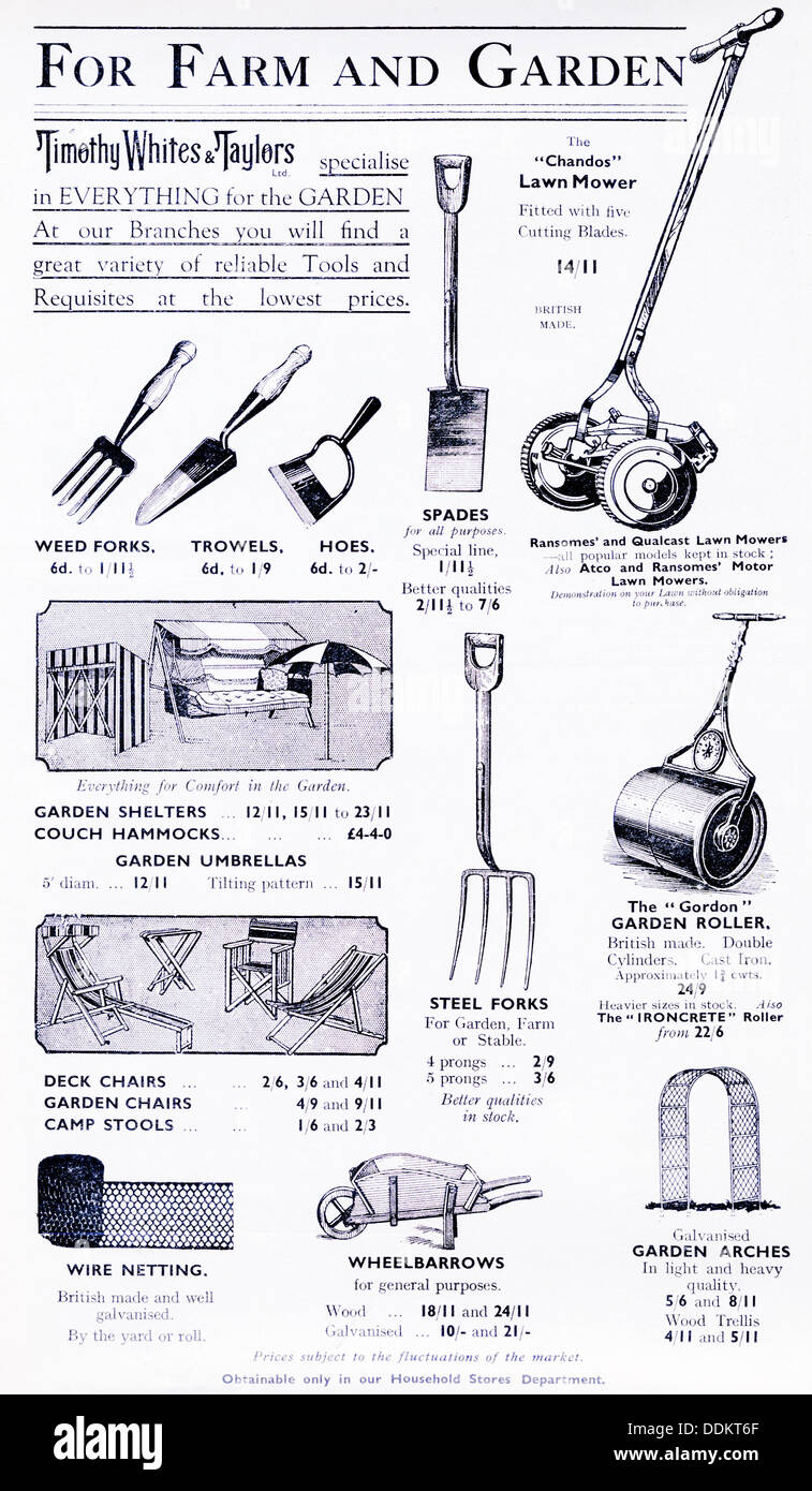 Advertisement for gardening tools and equipment in a 1936 for Tools and equipment in planting