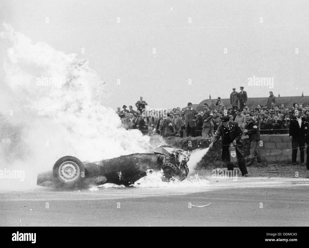 Tony Brooks 39 Car On Fire At The British Grand Prix