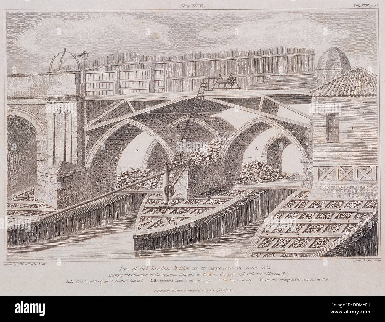 London bridge old london 1830 artist james basire i for Design agency london bridge