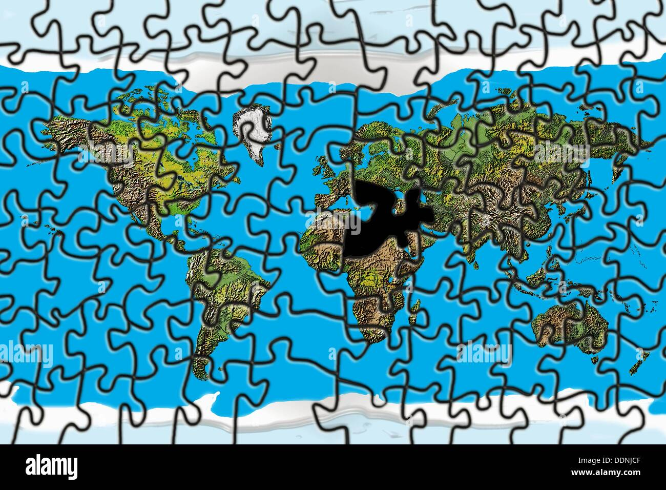 World puzzle with missing piece in the Middle East and North