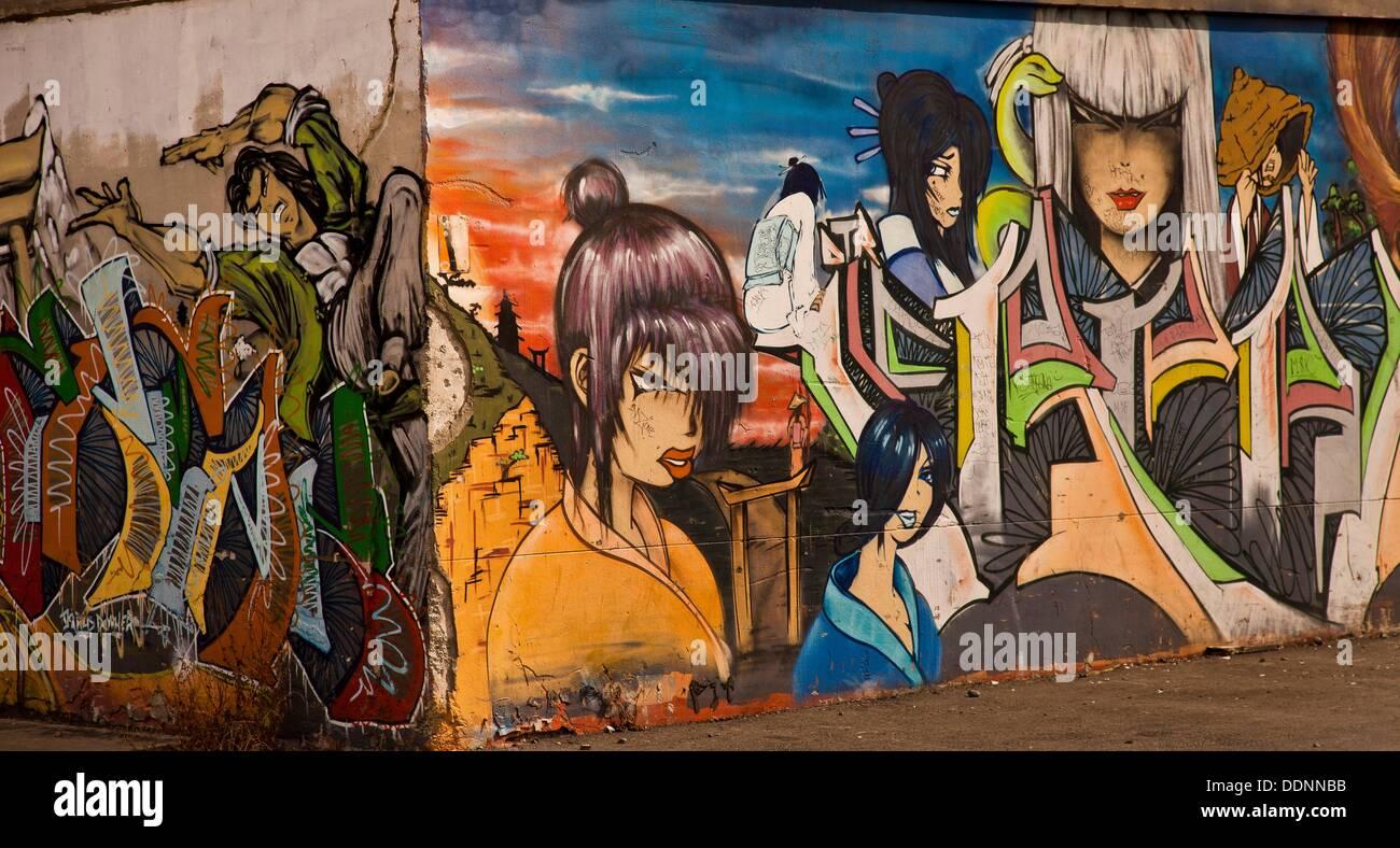 Graffiti wall christchurch - Street Art Graffiti Near Railway Tracks Christchurch New Zealand