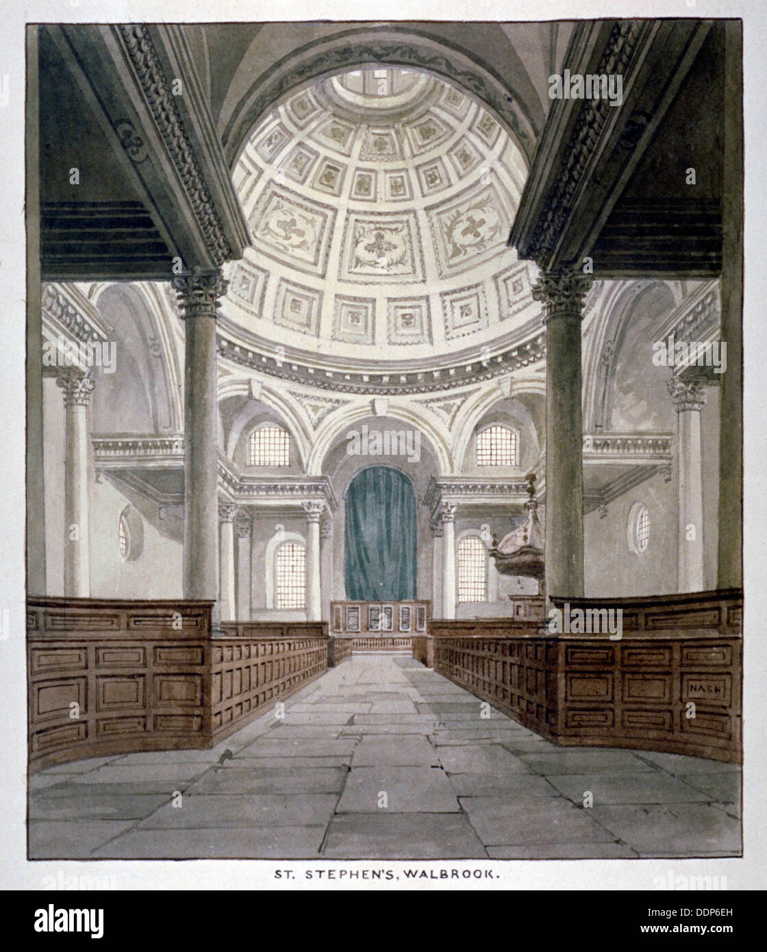 Church Of St Stephen Walbrook, City Of London, C1840. Artist: Frederick Nash