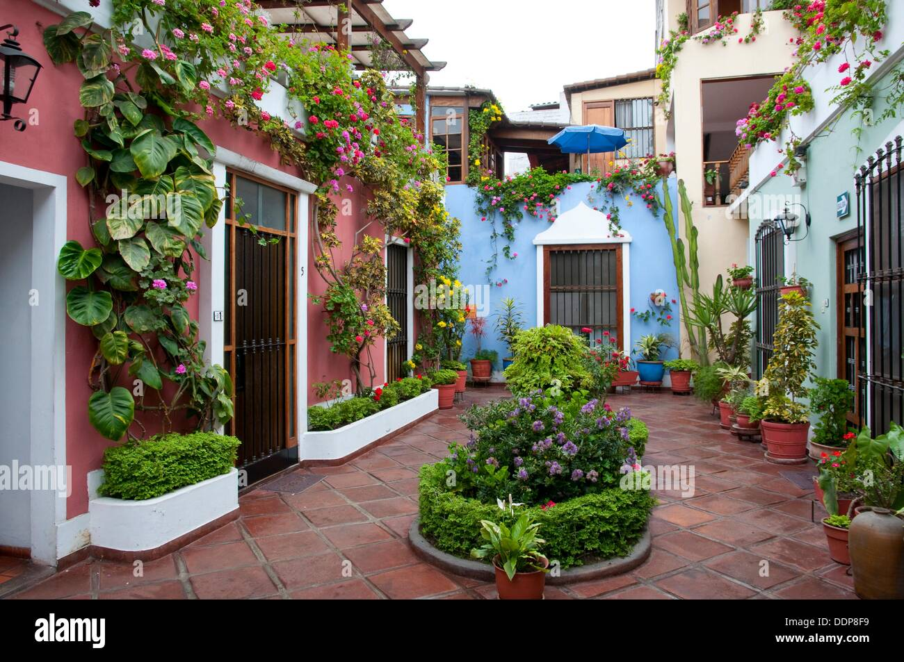 Great Stock Photo   The Interior Courtyard Of The El Patio Hostal In Miraflores,  Lima, Peru, South America