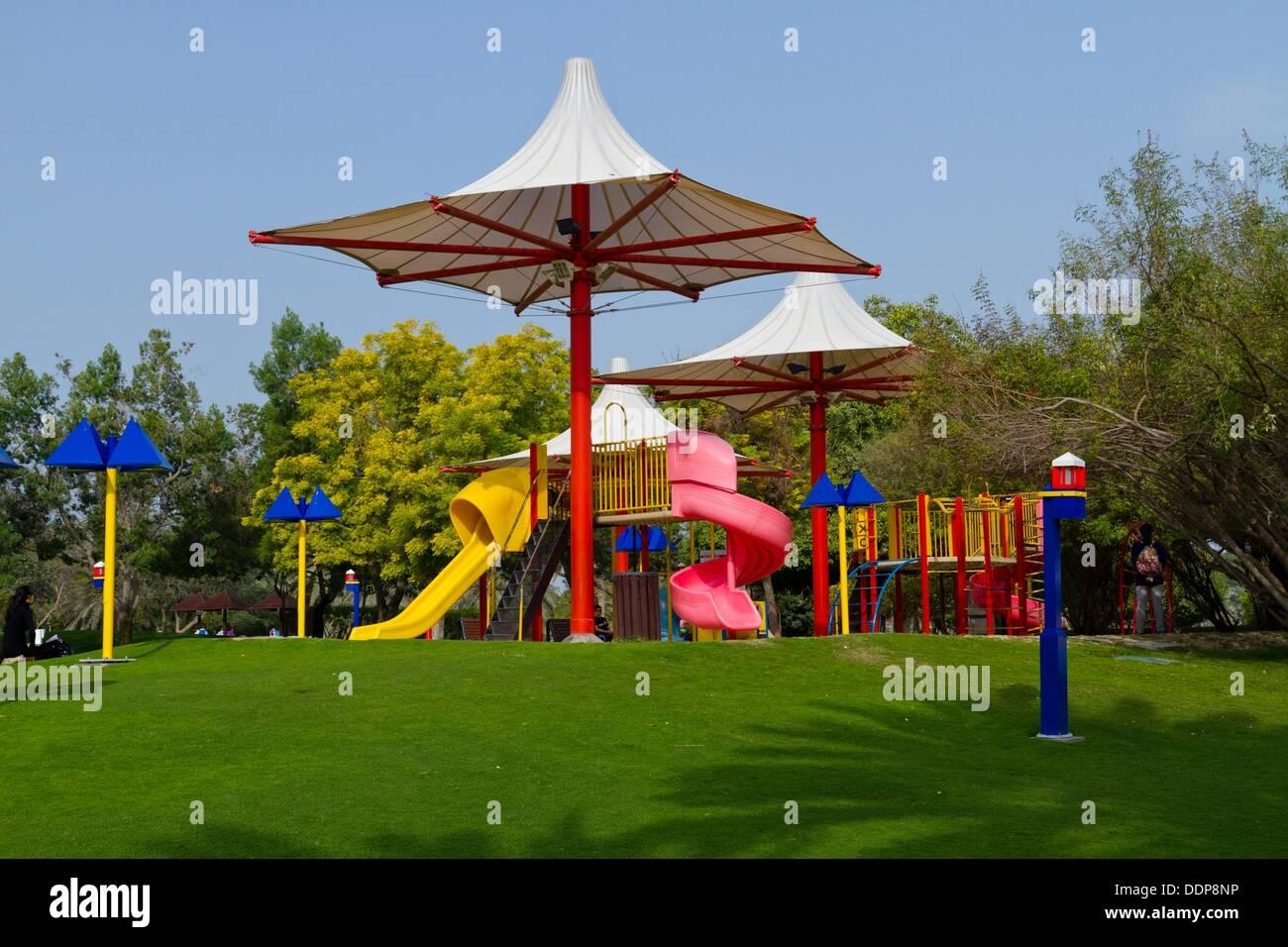 Ihram Kids For Sale Dubai: Children´s Playground In Creek Park, Dubai, UAE Stock