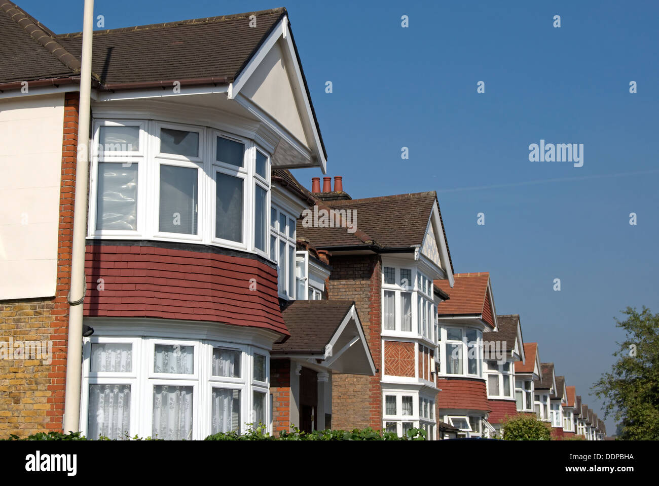 Row of 1930s houses in ealing west london england with for 1930s bay window construction