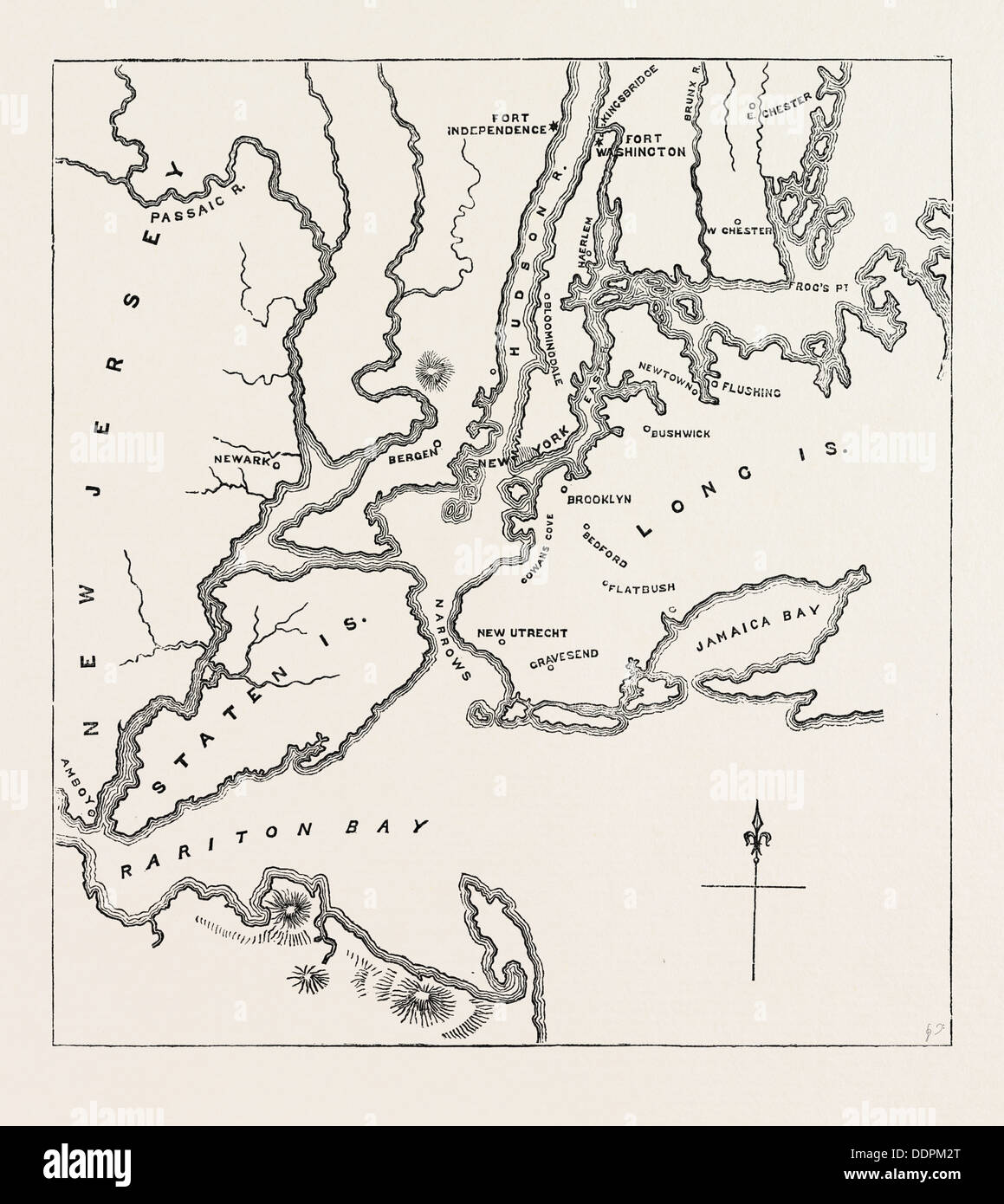MAP OF NEW YORK AND VICINITY UNITED STATES OF AMERICA US - 1776 us map