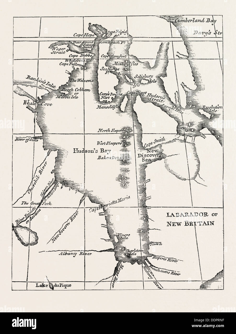 MAP OF HUDSONS BAY From Dobbs Hudsons Bay 1744 US USA