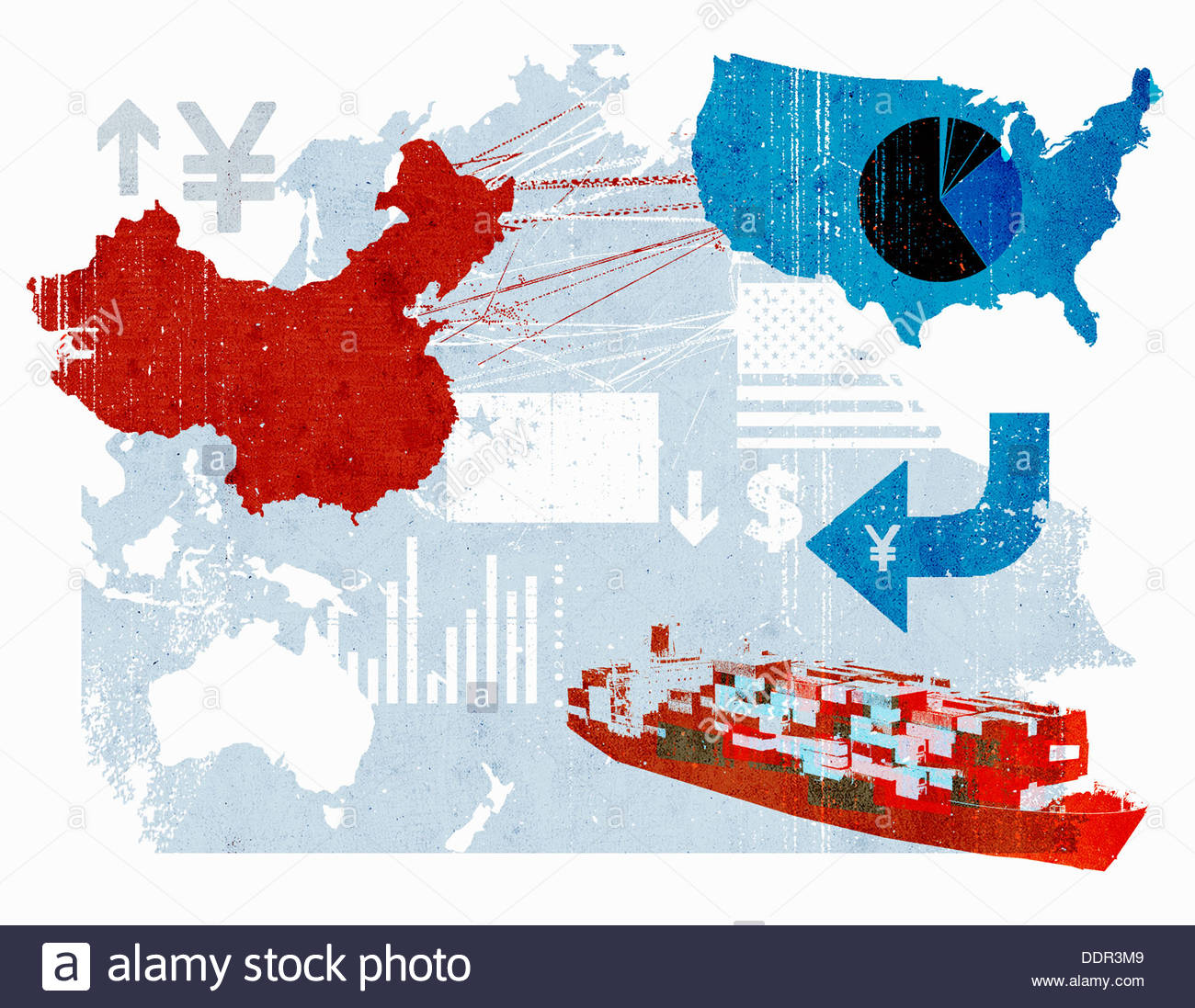 Trade Connections Between China And United States On Map Stock - Free united states map graphic