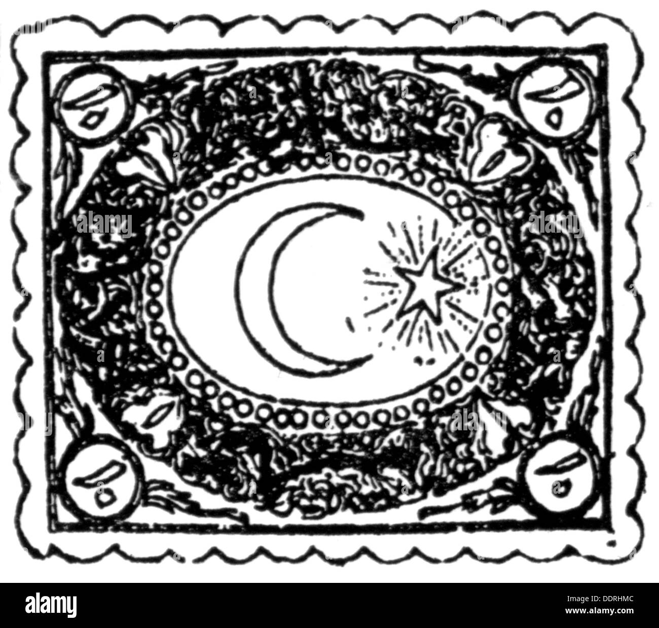 mail post postage stamps turkey stamp with star and crescent