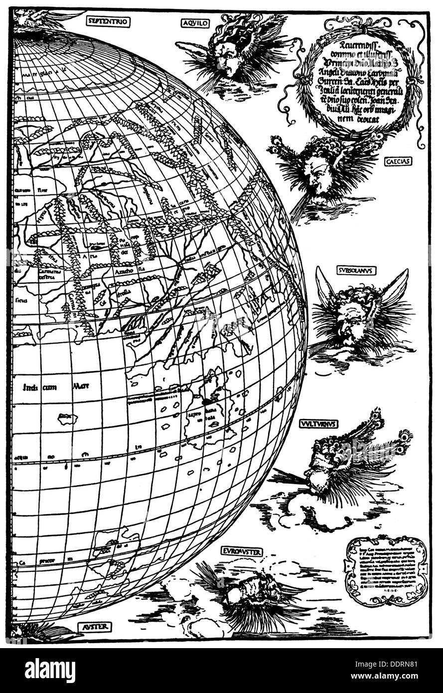 Stock Photo Cartography World Maps World Map Of Johannes Stabius Woodcut Of Albrecht Duerer 1515 Eastern Half Half East Wind Winds Allegory