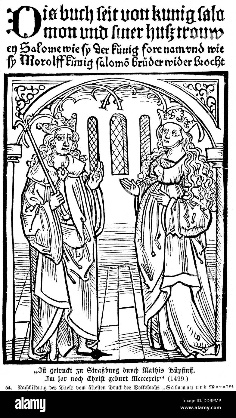 literature titles and title pages solomon and marcolf woodcut stock photo literature titles and title pages solomon and marcolf woodcut print matthias hupfuff strasbourg 1499 15th century middle