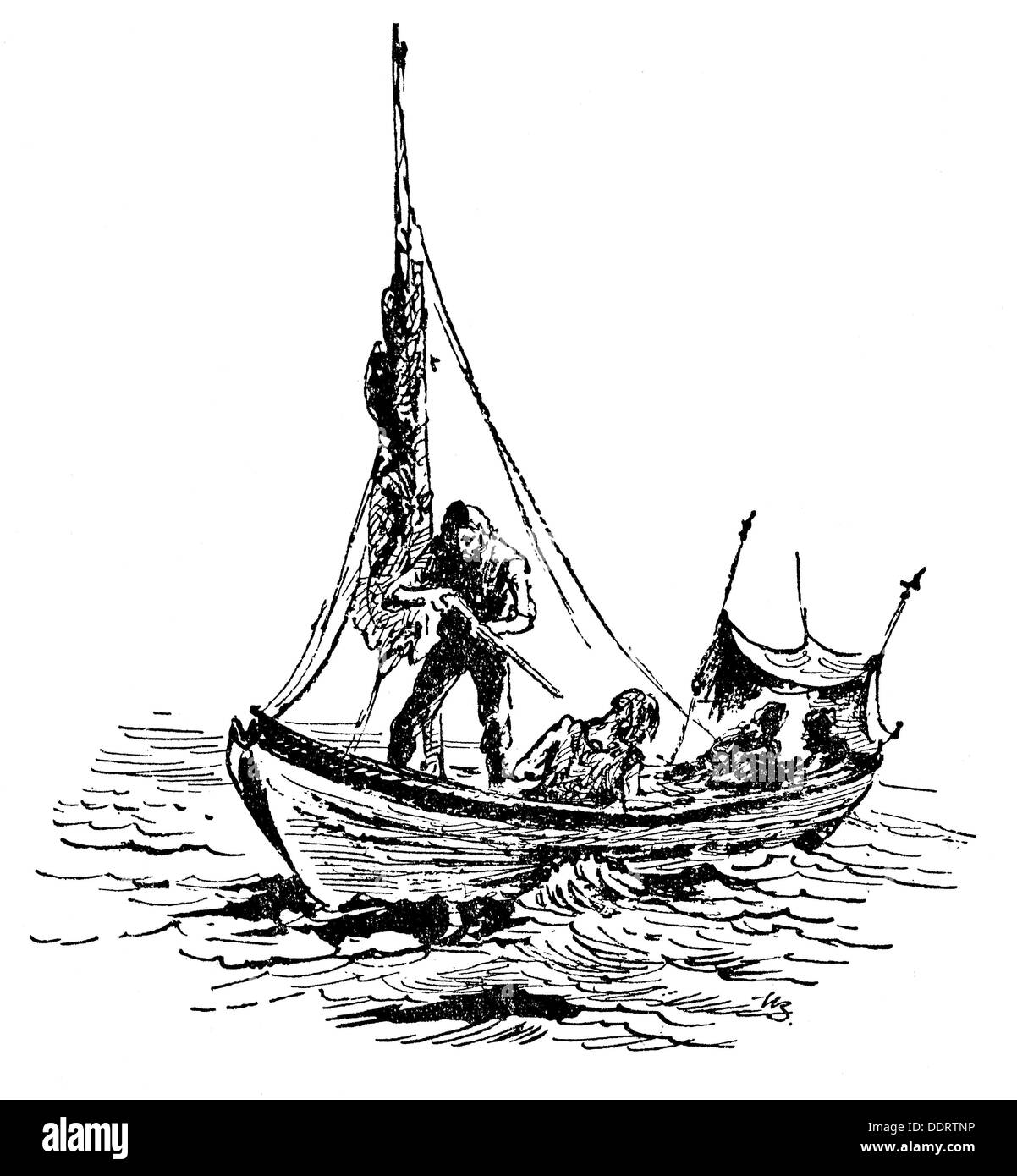 Fishing whaling whaling boat drawing from muenchner for How to draw a fishing boat