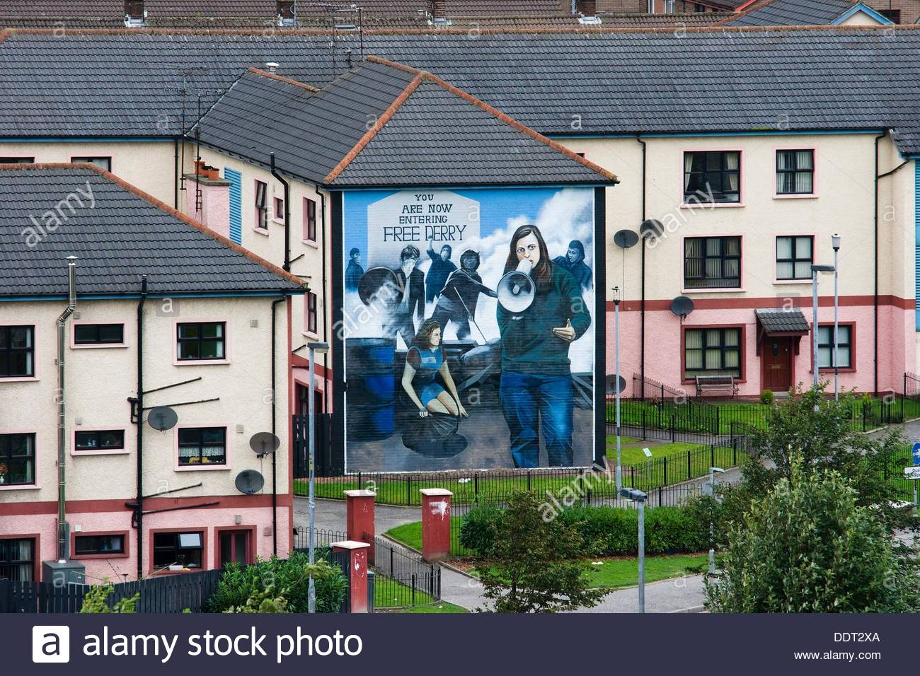 Catholic district of londonderry or derry view from city wall catholic district of londonderry or derry view from city wall murals painted by bogside artists a project since 1994 amipublicfo Images
