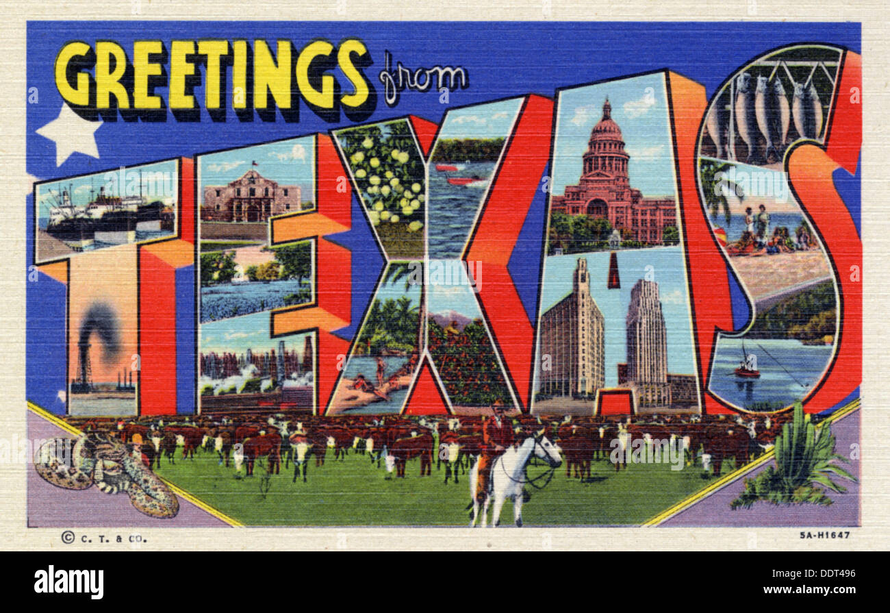Greetings from texas postcard 1935 stock photo 60151874 alamy greetings from texas postcard 1935 kristyandbryce Choice Image