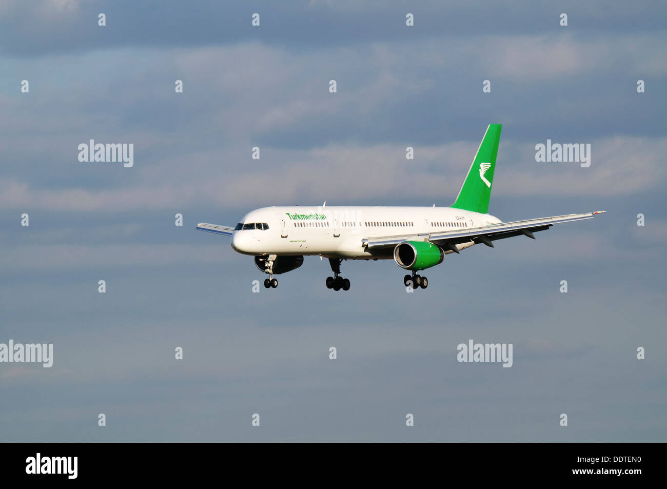 Stock Photo  Turkmenistan Airlines Boeing 757 Aircraft On Approach To Land  At Birmingham International