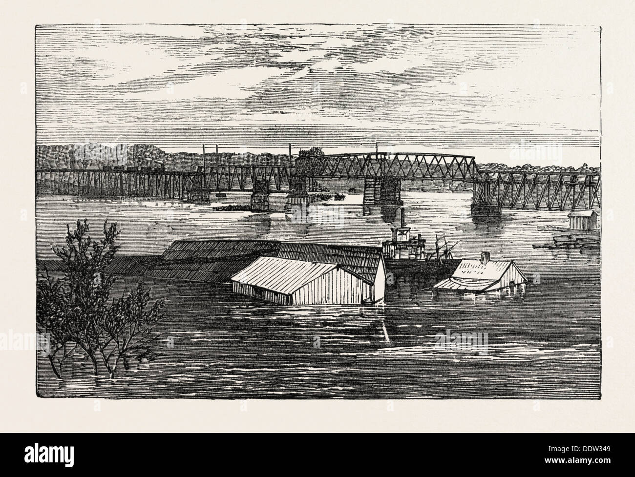 Inundations in the united states of america railroad bridge stock inundations in the united states of america railroad bridge clarksville tennessee sciox Image collections