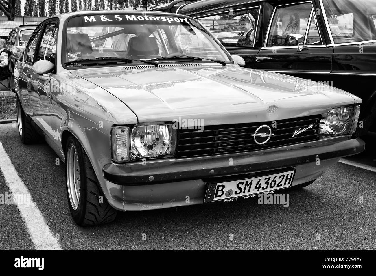 berlin may 11 car opel kadett c coupe black and white 26th stock photo royalty free image. Black Bedroom Furniture Sets. Home Design Ideas