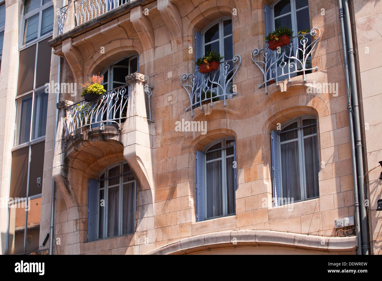 art nouveau architecture on the camal building in nancy france stock photo royalty free image. Black Bedroom Furniture Sets. Home Design Ideas
