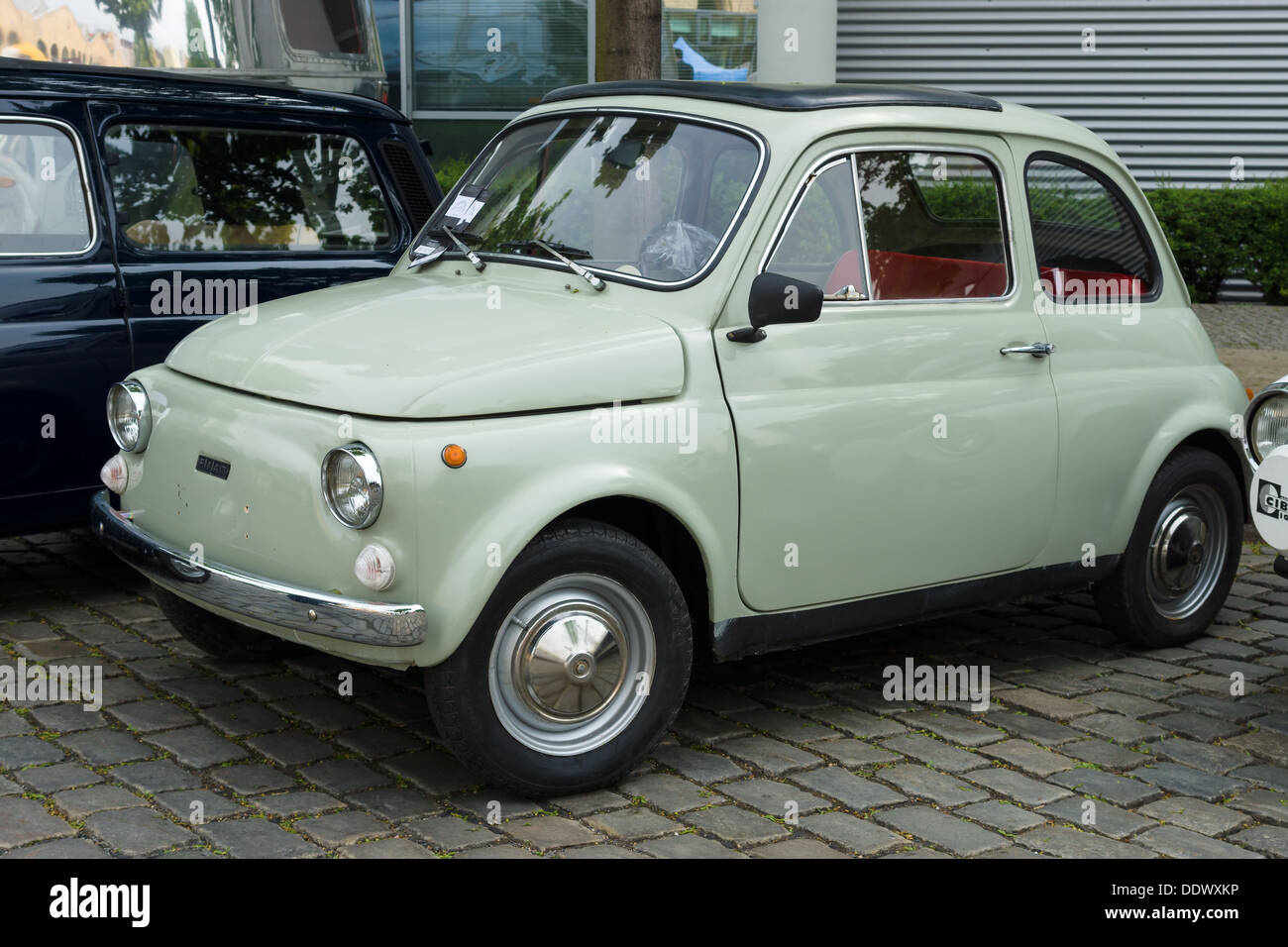 berlin may 11 small car fiat 500 r 26 oldtimer tage stock photo royalty free image. Black Bedroom Furniture Sets. Home Design Ideas