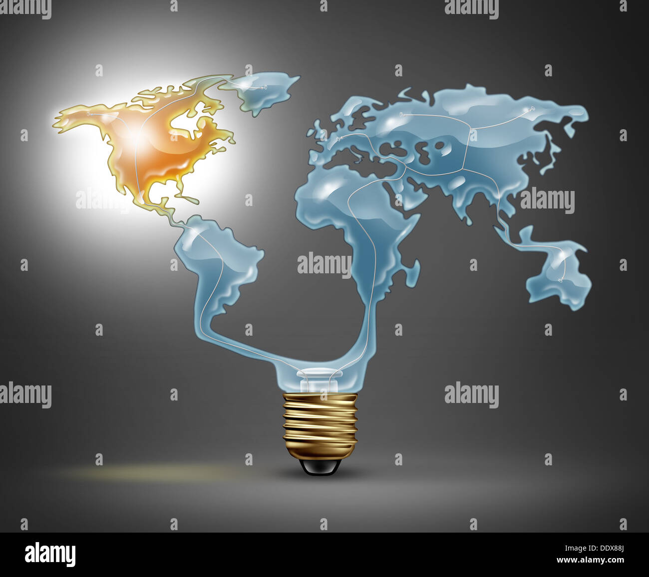 North america recovery with a light bulb in the shape of the world north america recovery with a light bulb in the shape of the world map representing the global economy with the northern american continent illuminated with gumiabroncs Images