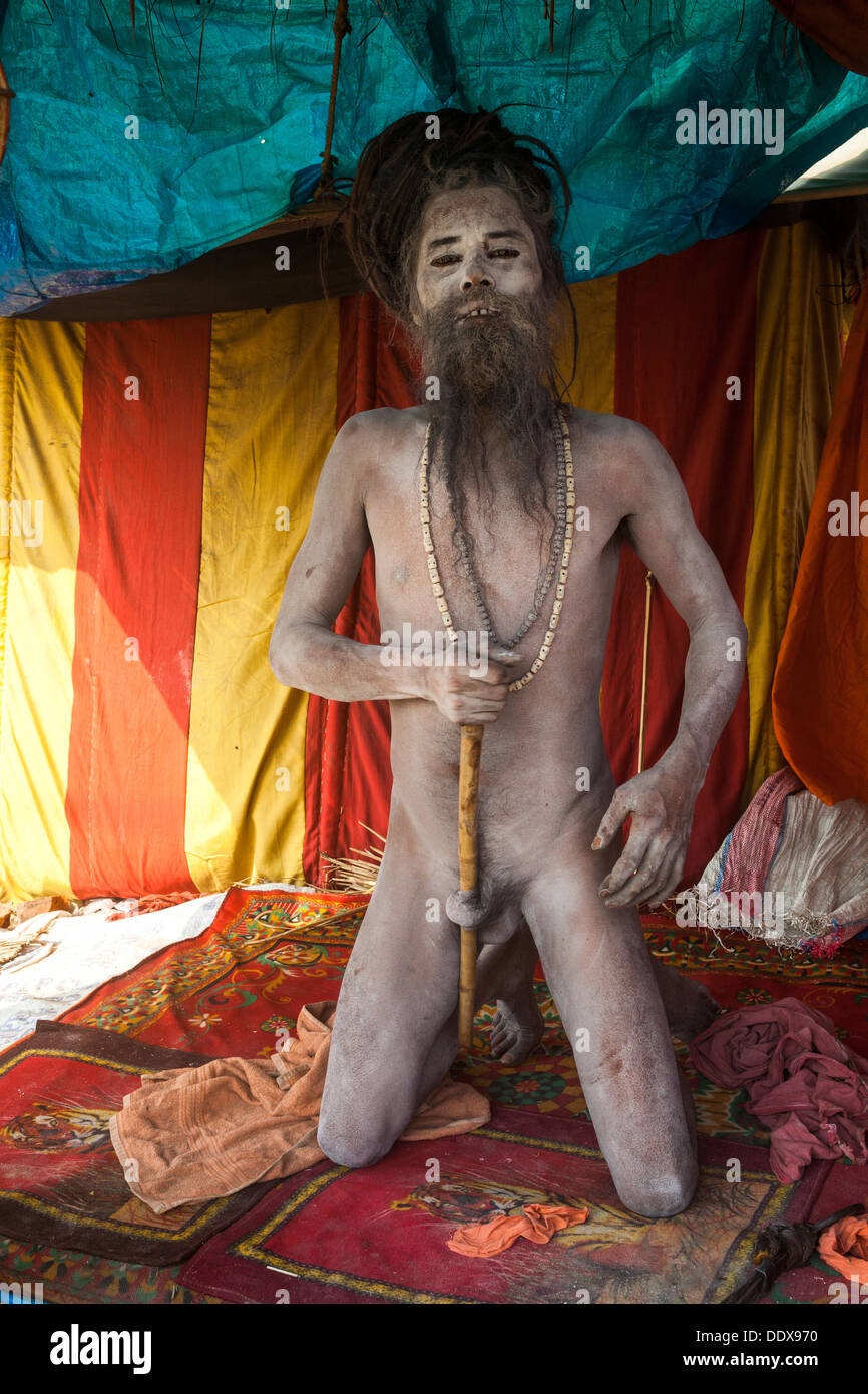 Naga Sadhu Displaying The Human Elements And Tricks Of Yoga At Kumbh Mella 2013 In Allahabad India