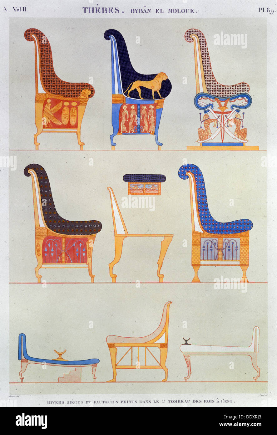 Ancient egyptian furniture - Ancient Egyptian Furniture 1822 Artist Pomel