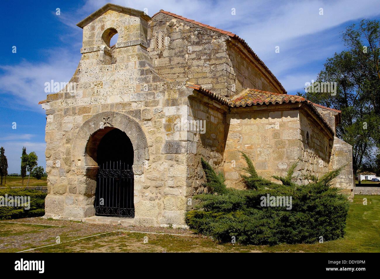 san juan de baos visigothic church palencia spain stock image