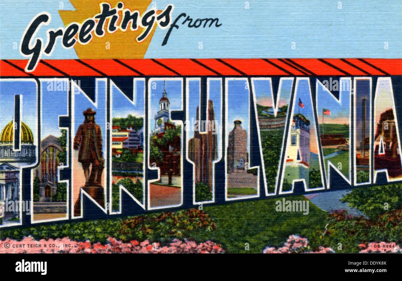 Greetings from america postcard stock photos greetings from greetings from pennsylvania postcard 1940 stock image kristyandbryce Choice Image
