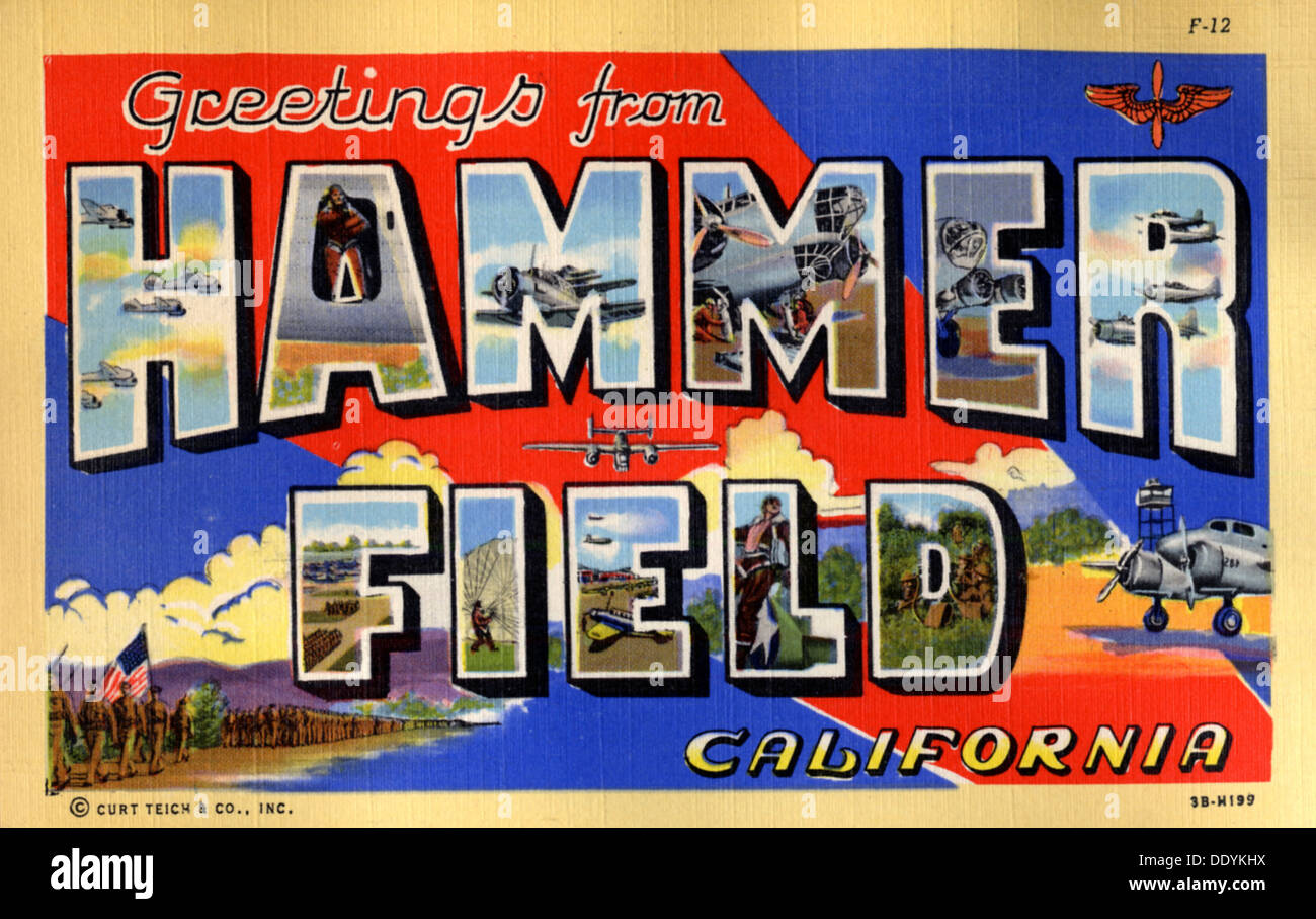 Greetings from hammer field california postcard 1943 stock photo greetings from hammer field california postcard 1943 m4hsunfo Gallery