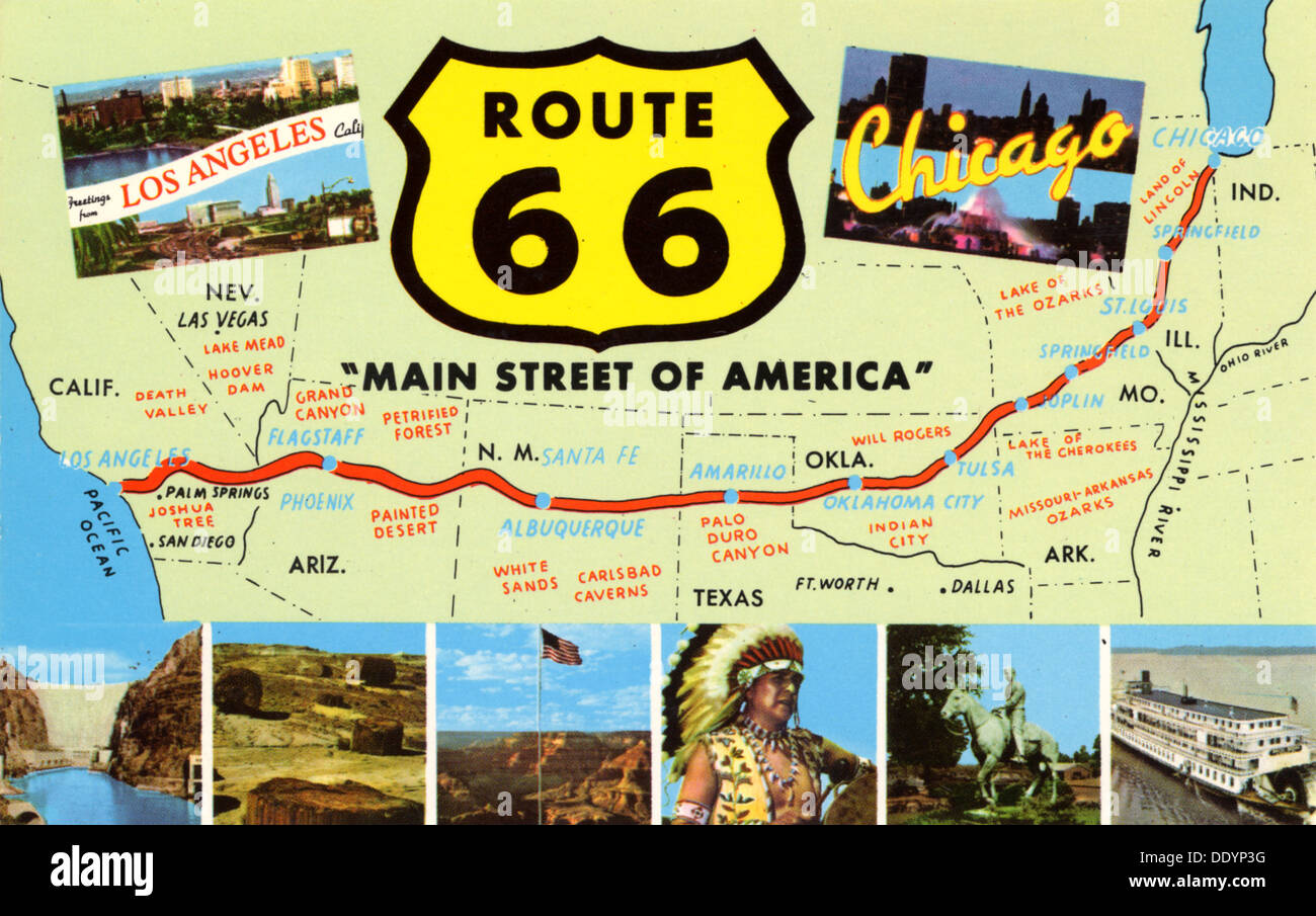 Route  Main Street Of America  Stock Photo Royalty Free - Chicago map route 66