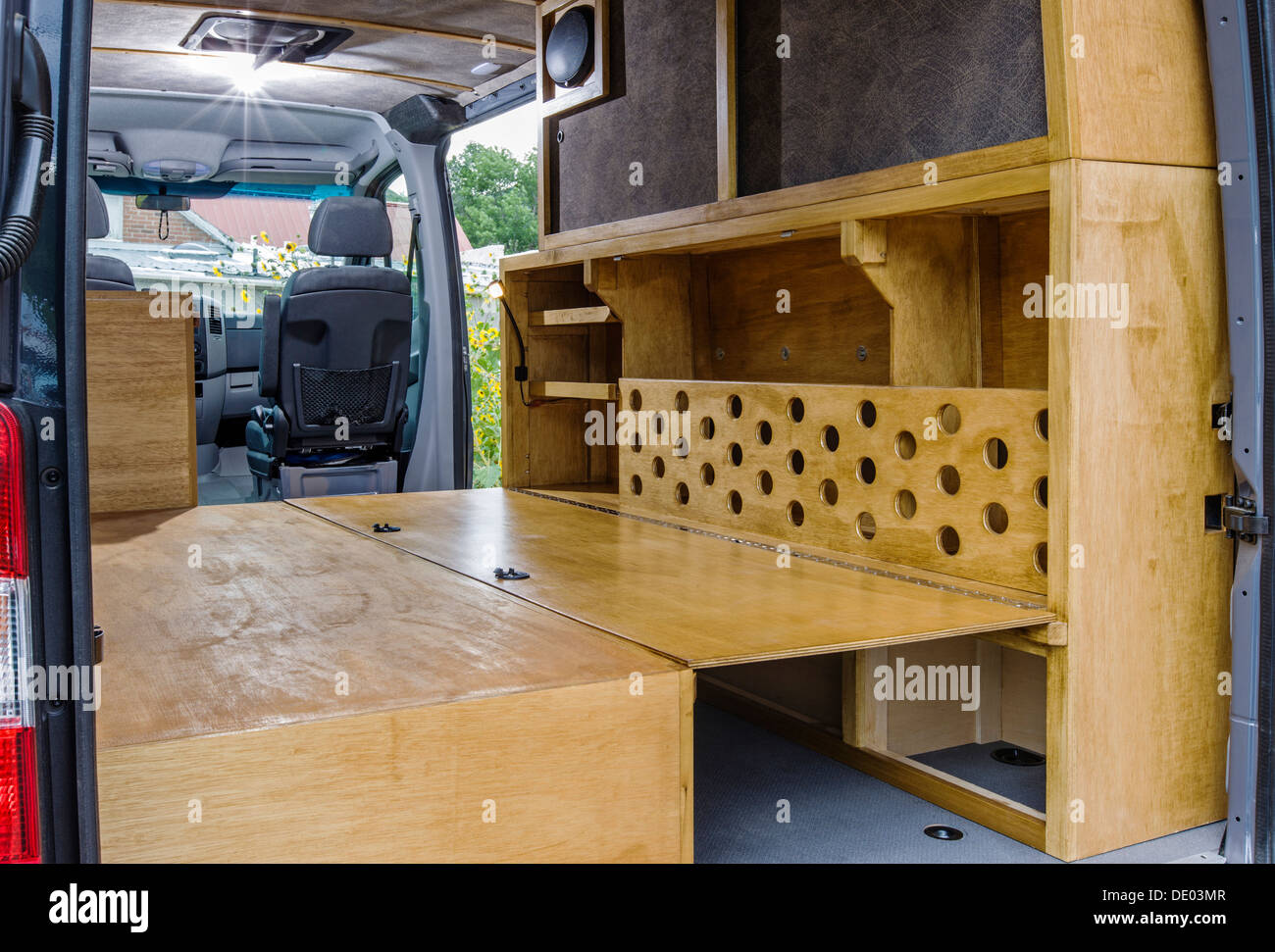 Mercedes Sprinter Customized >> Interior view of Mercedes-Benz Sprinter Cargo Van 2500, being Stock Photo, Royalty Free Image ...