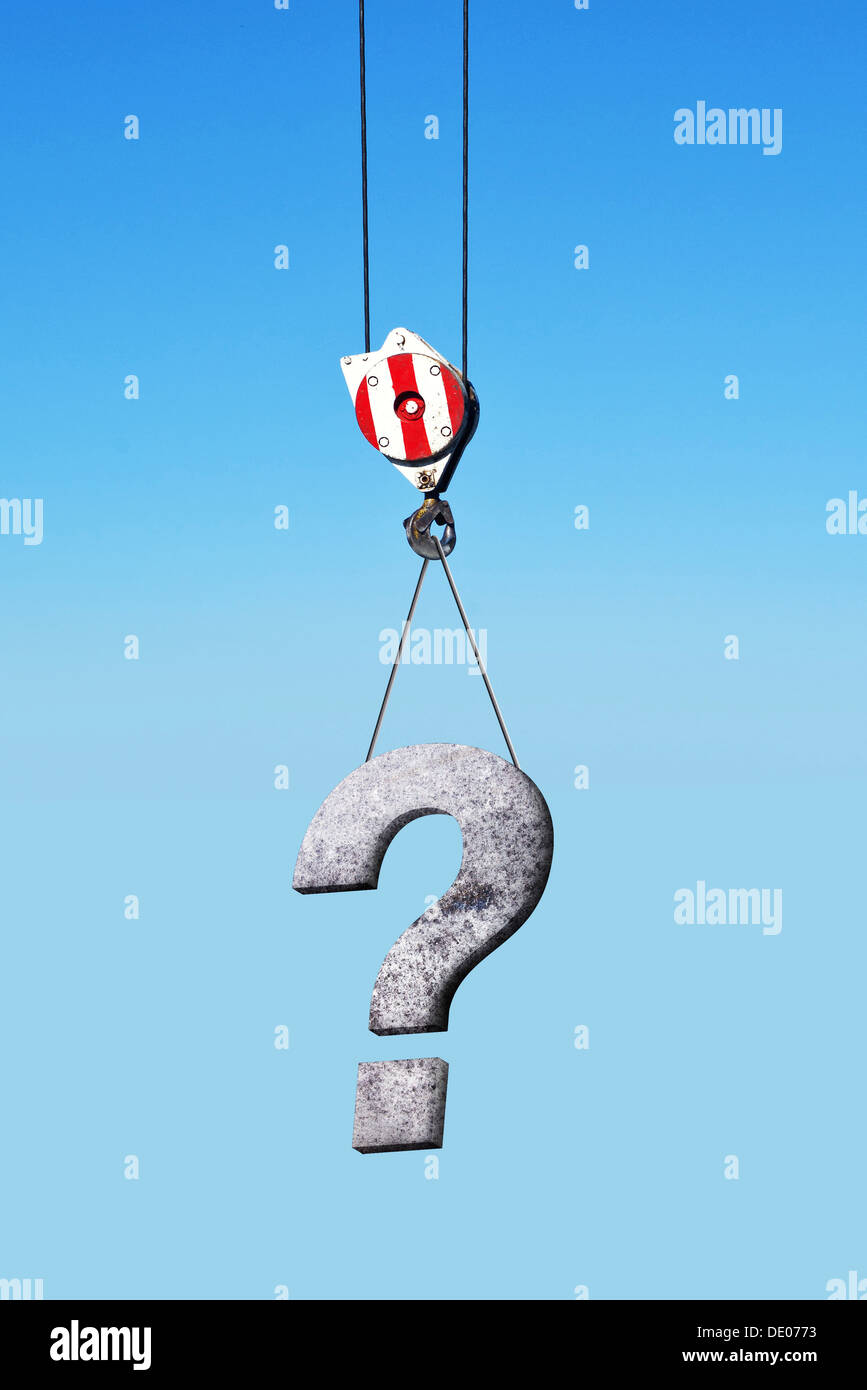 Mobile Crane Questions And Answers : Construction crane hook lifting concrete question mark