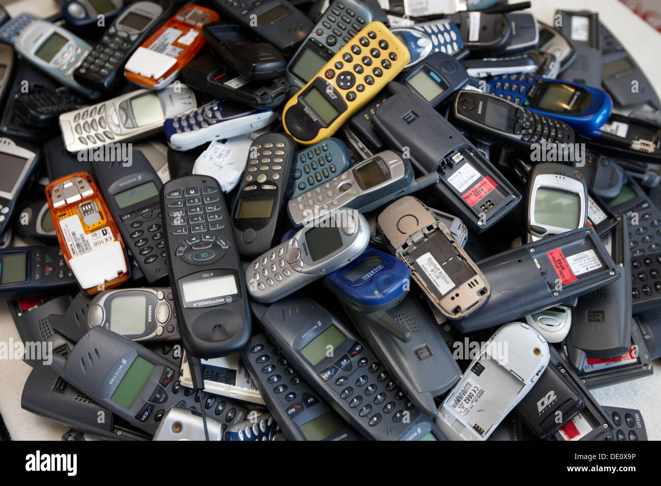 Pile Of Cell Phones : Cell phones old mobile on a pile stock photo