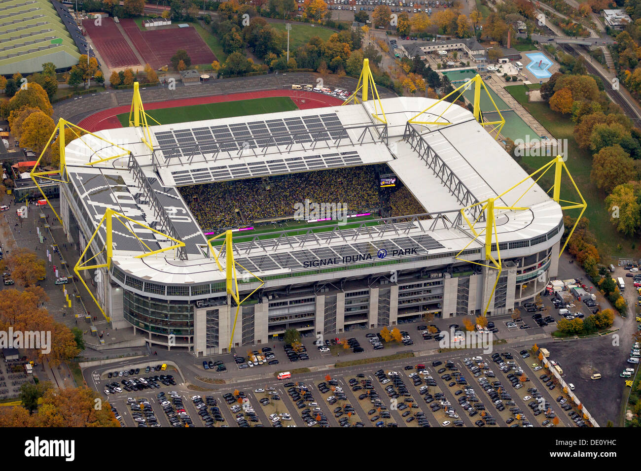 aerial view signal iduna park stadium dortmund ruhr region north stock photo royalty free. Black Bedroom Furniture Sets. Home Design Ideas