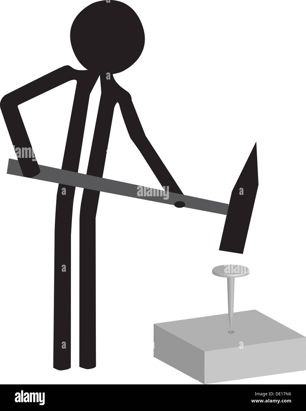 handyman drawing with hammer and nail stock photo royalty free