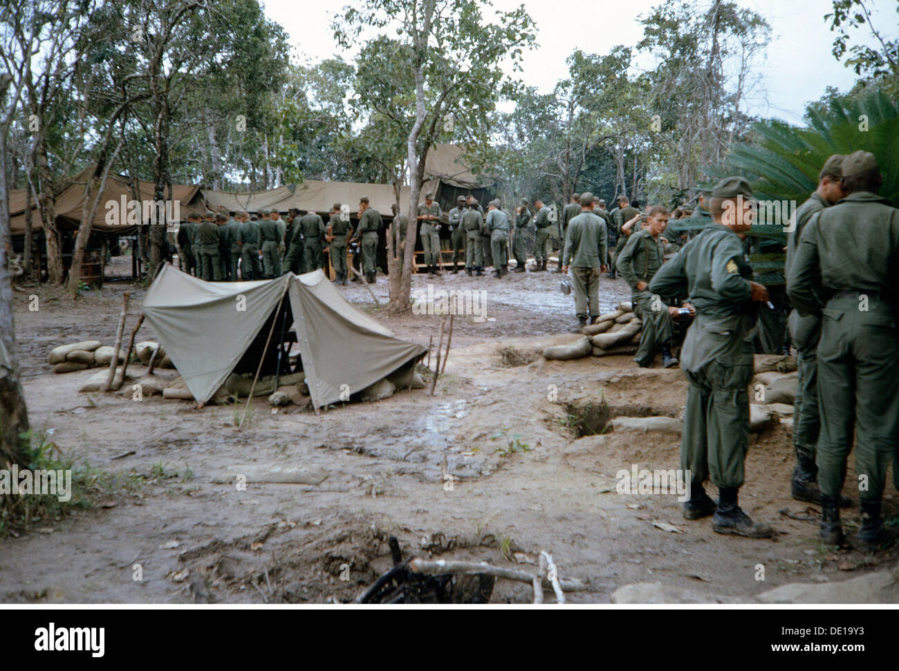 Vietnam War 1957 - 1975 American bivouac South Vietnam 1965 c& c&s tent tents soldiers soldier military Armed Forces USA & Vietnam War 1957 - 1975 American bivouac South Vietnam 1965 camp ...