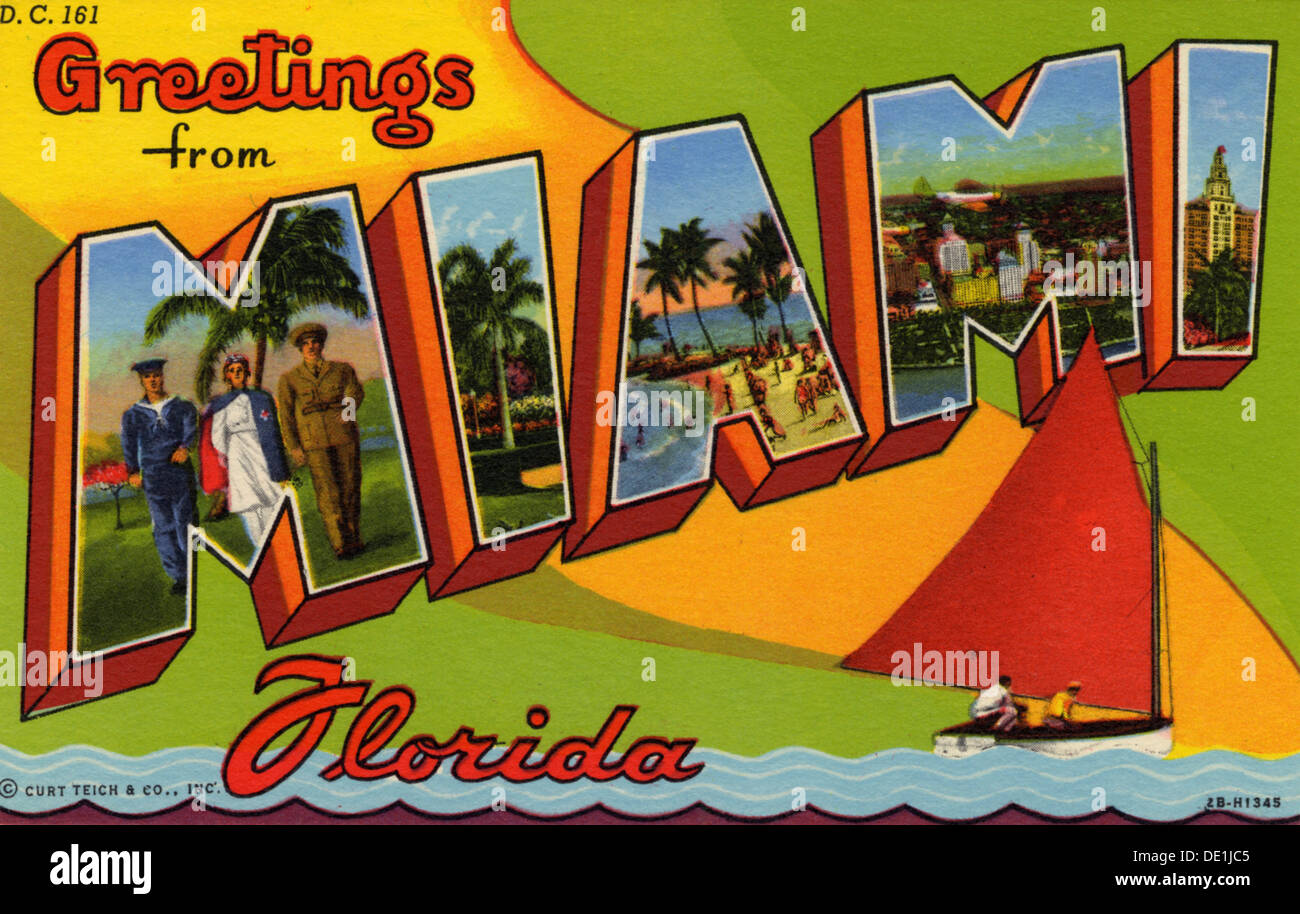 Greetings from miami florida postcard 1942 stock photo greetings from miami florida postcard 1942 kristyandbryce Image collections