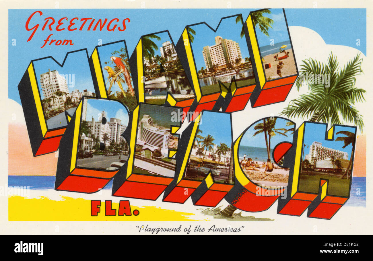 Greetings from miami beach florida postcard 1934 stock photo greetings from miami beach playground of the americas postcard 1959 kristyandbryce Image collections