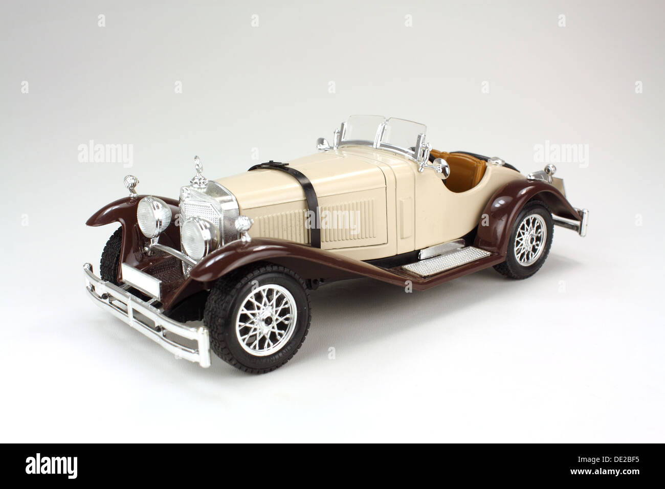 Model Of A Vintage Mercedes Benz Car On White Background Stock
