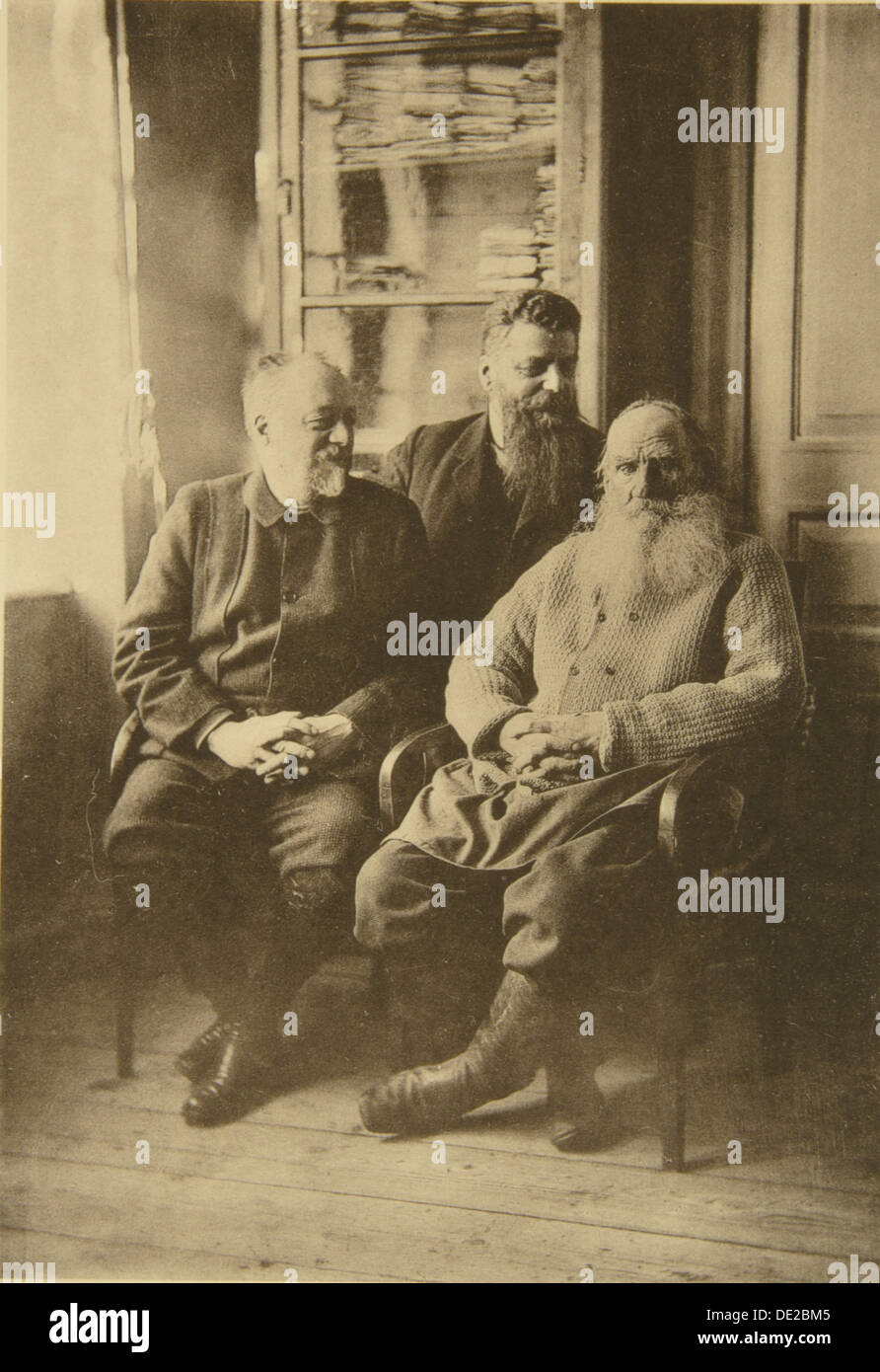 Russian author leo tolstoy with politician mikhail stakhovich and mikhail sukhotin russia 1900s