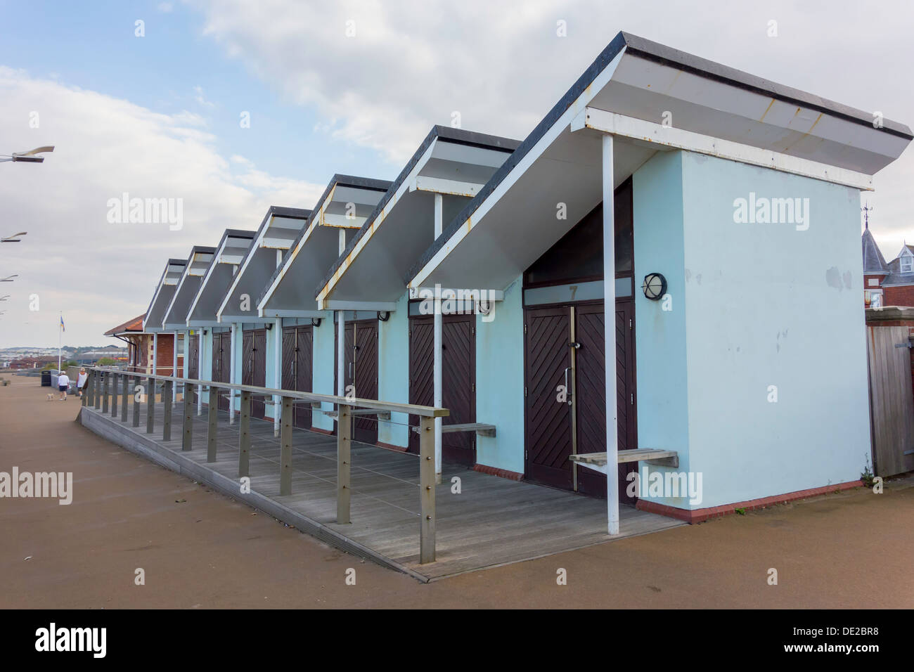 Stock Photo   Unusual Beach Huts Made Of Steel And Concrete With Mono Pitch  Roofs At Hornsea East Yorkshire UK