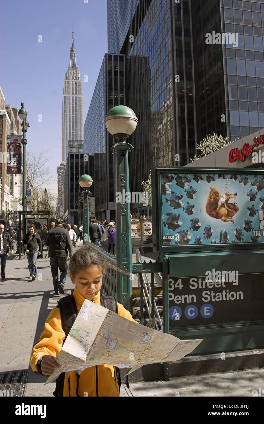 Yearold Biracial Girl On Looking At Subway Map Empire State - Nyc map empire state building