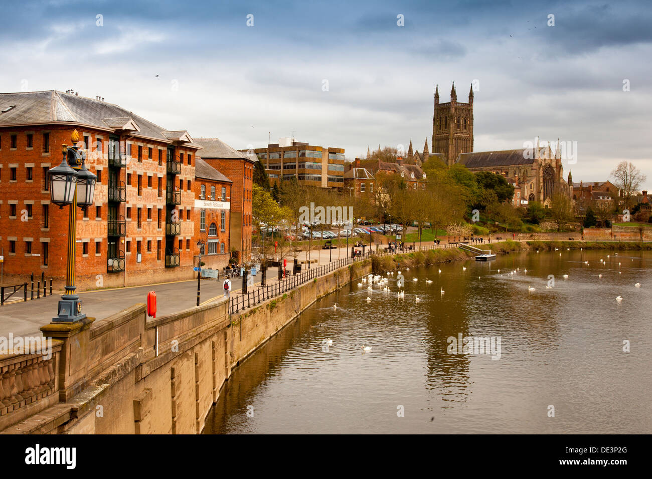 worcester cathedral and the river severn from the town. Black Bedroom Furniture Sets. Home Design Ideas