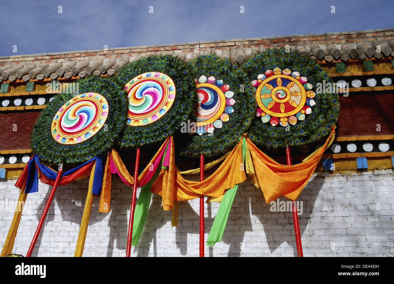 Buddhist banners with symbols and mantras such as the eight stock buddhist banners with symbols and mantras such as the eight auspicious symbols and the om mani padme hum mantra buycottarizona