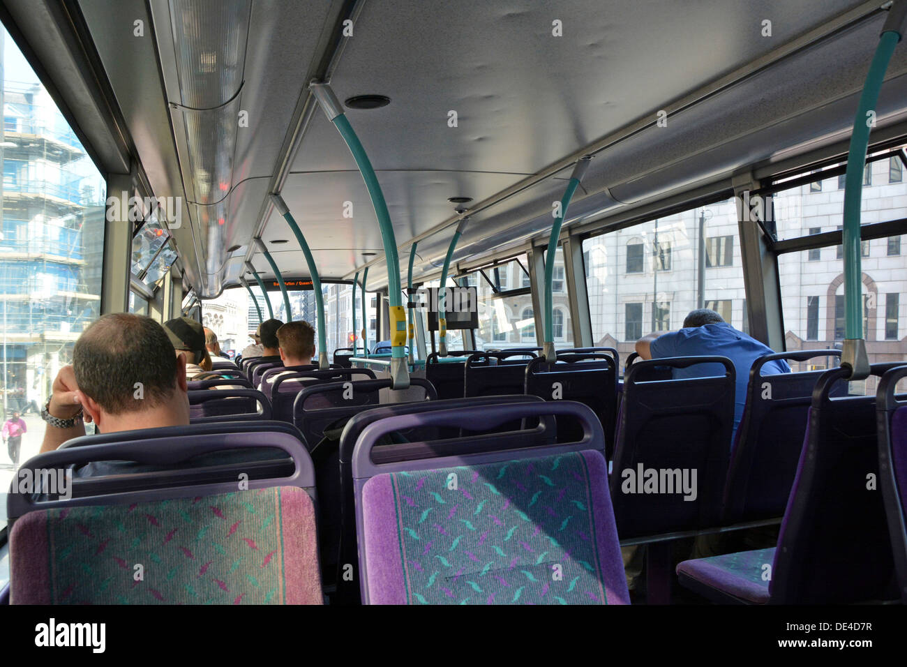 London double decker bus interior with passengers Stock ...