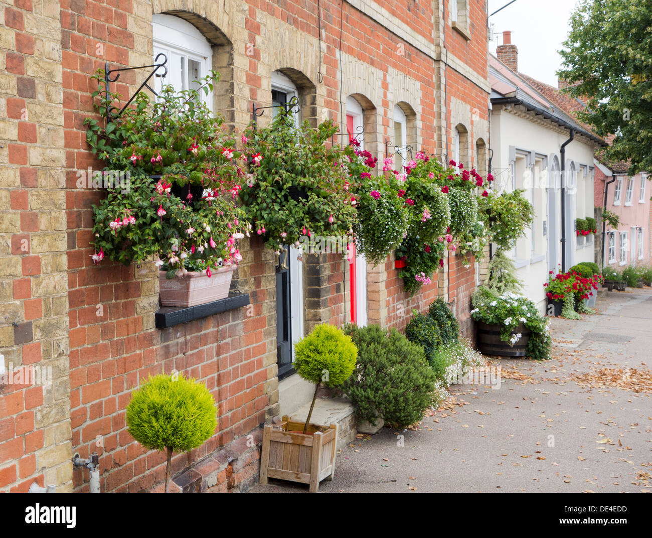 Many hanging baskets and tubs of plants at the front of a for Plants for front of house